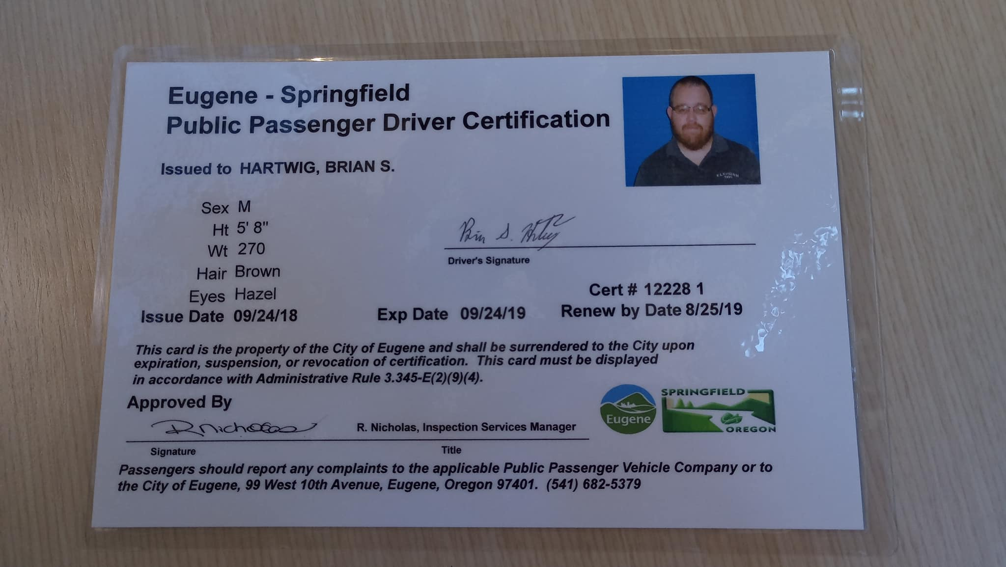 Brian Hartwig's Drivers Certificate